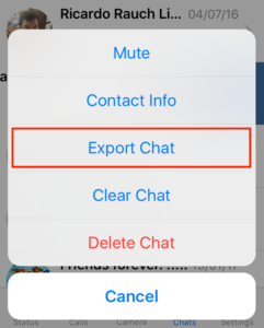 Choose Export Chat