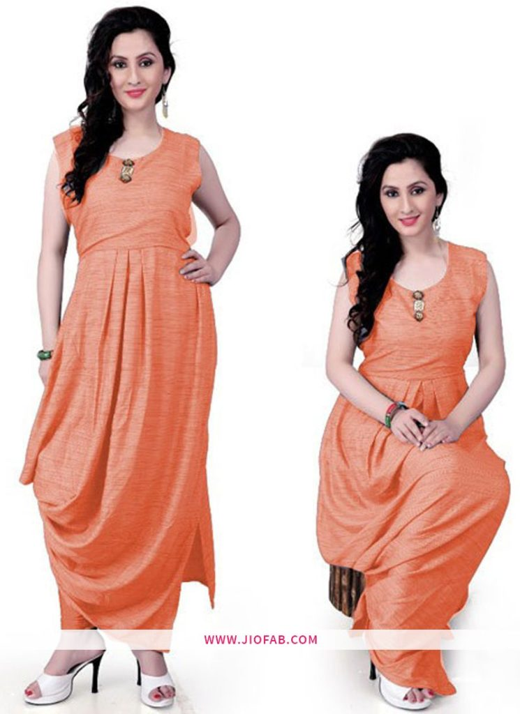 ORANGE RAYON KHADI FANCY Kurtis