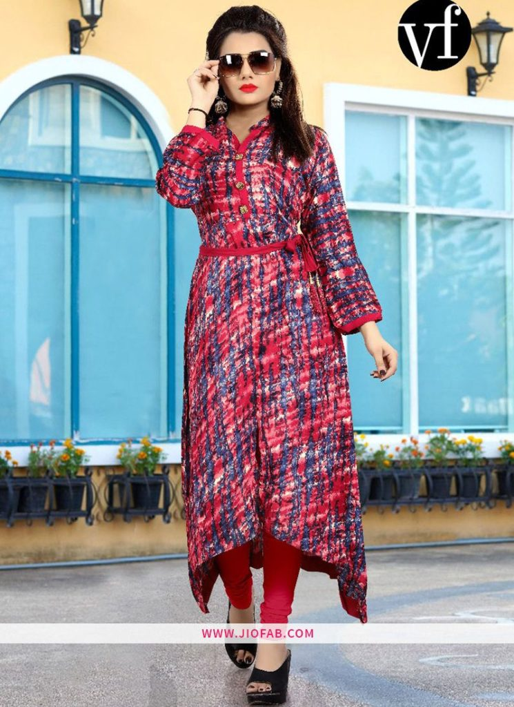 Skip to the end of the images gallery Skip to the beginning of the images gallery Pink Heavy Rayon Print VF Vol 7 Printed Kurti