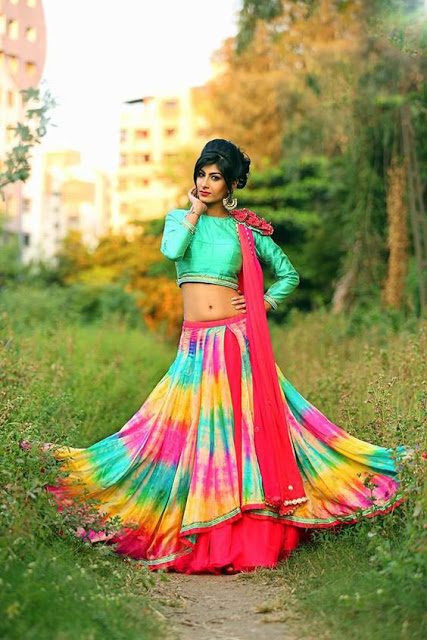 High Neck Heavy Patched Double Flared Dandiya Special Chaniya Choli