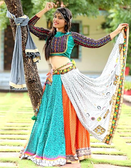 Multi Layer Chaniya Choli with High Neck