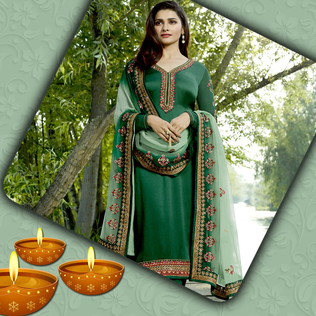 Green Salwar suit with net dupatta