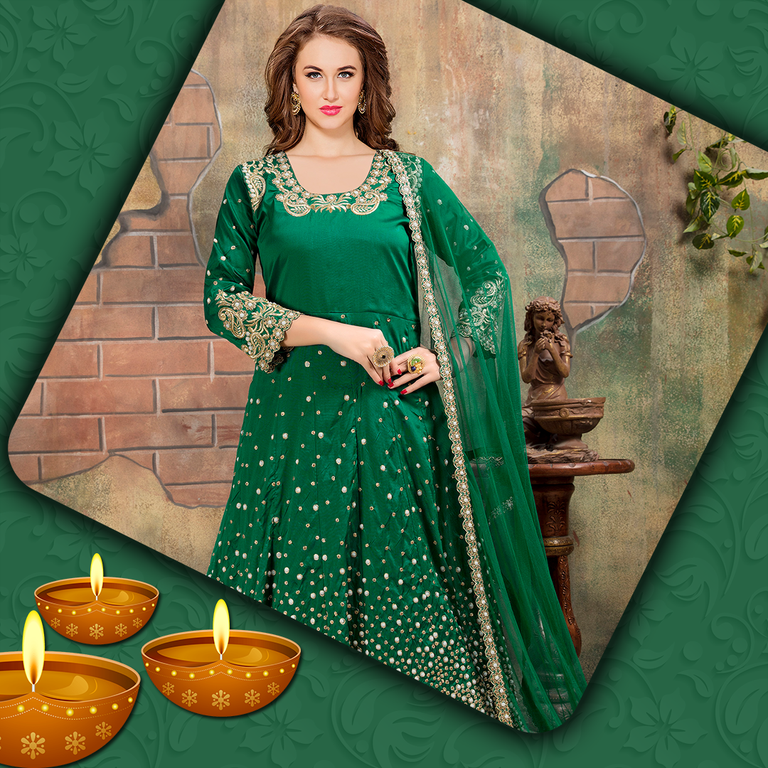 Green Anarkali Suit For Festival