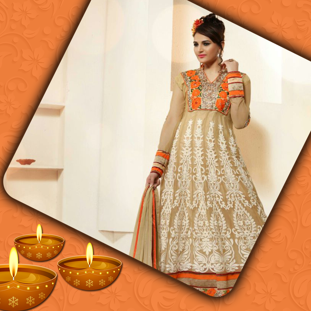 Offwhite Net Salwarsuit With Dupatta