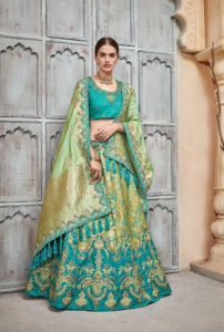Bridal Wear Green Silk Lehenga Choli