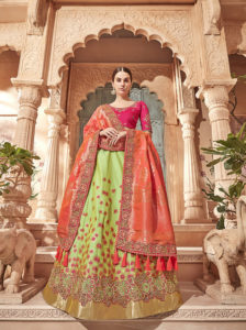 Pink And Green Silk Lehenga Choli