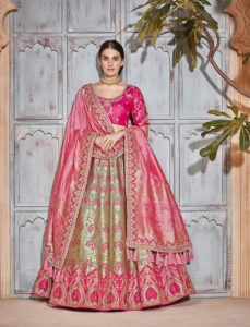 Pink And Grey Silk Lehenga Choli