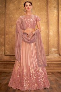 Traditional Wedding Lehenga In Satin Silk Pink Color With Net Choli