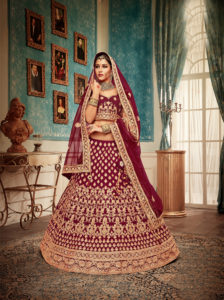 Cheery Maroon Color Bridal Lehenga Choli