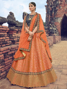 Fashionable Orange Color Party Wear Lehenga Choli