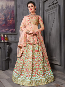 Magnificent Sky Blue Color Phantom Silk Embroidery Lehenga Choli