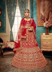 Modish Red Color Designer Lehenga Choli Online