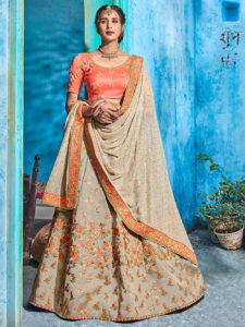 Wedding Wear Grey And Peach Banarasi Silk Semi Stitched Lehenga Choli