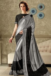 Black and Silver Lycra Fancy Saree Online