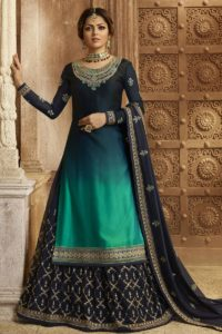 Navy Blue Shaded Satin Georgette Indo Western Dress