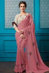 Pink Chinese Georgette Embroidery Saree