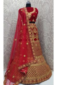Red Color Beautiul Stone Work Velvet Indian Bridal Lehenga Choli With Net Dupatta
