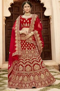 Bridal Red Soft Velvet Designer Lehenga Choli