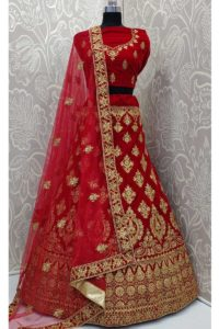 Velvet Red Resham Embroidery Bridal Lehenga Choli