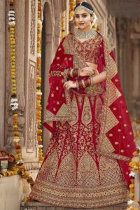 Designer Bridal Silk Red Lehenga Choli
