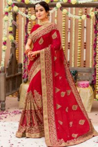 Designer Embroidered Georgette Red Bridal Saree
