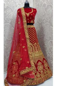 Designer Exclusive Velvet Red Color Resham Embroidery Bridal Lehenga Choli