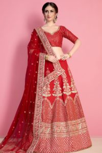 Designer Red Art Silk Lehenga Choli