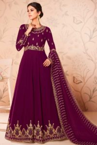 Georgette Anarkali Dress Magenta Color
