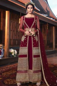 Georgette Traditional Western Dress And Net Jacket Maroon Color