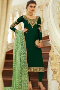 Green Color Embroidery Satin Georgette Party Wear Straight Salwar Kameez