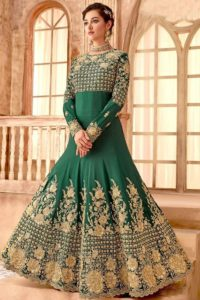 Green Color Party Wear Anarkali Salwar Suit