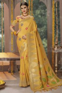 Haldi Special Yellow Wedding Saree With Zari Work Banarasi Silk