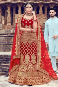 Jari Embroidery Velvet Indian Wedding Lehenga Choli In Red Color