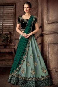 Light Green Velvet Lehenga Choli