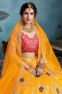 Mustard Yellow Bridal Lehenga Choli In Art Silk