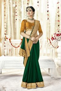 Party Wear Green Satin Saree