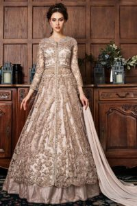 Peach Net Front Open Wedding Anarkali Suit