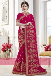Pink Embroiderd Designer Saree