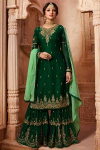Satin Georgette Sharara Pakistani Dress