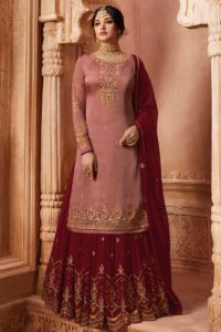 Satin Georgette Sharara Suit Resham Embroidery In Dusty Pink Color