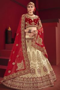 Satin Red Bridal Lehenga Choli