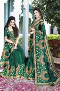 Satin Silk Pine Green Festive Saree