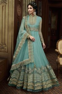 Sea Blue Color Floral Anarkali Salwar Suit