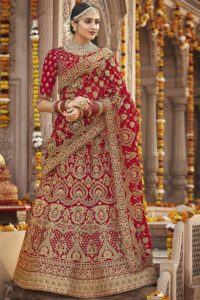 Silk Red Bridal Lehenga Choli Online