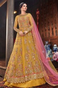 Net Fabric Anarkali Suit In Yellow Color