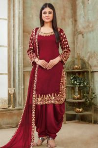 Stylish Maroon Color Patiala Collection