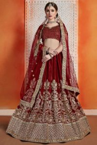 Velvet Circular Lehenga Choli Maroon Color With Jari Embroidery Work