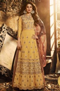 Yellow Designer Anarkali Salwar Suit
