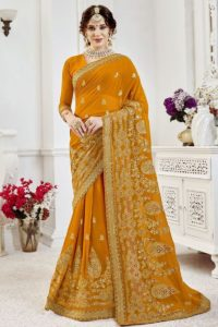 Yellow Georgette Embroiderd Saree Online