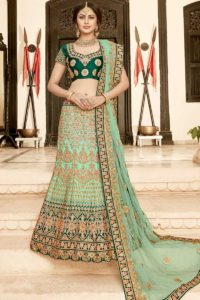 Aqua Green Pure Heavy Silk Bridal Lehenga Choli